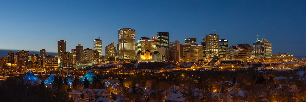Blue hour downtown Edmonton skyline
